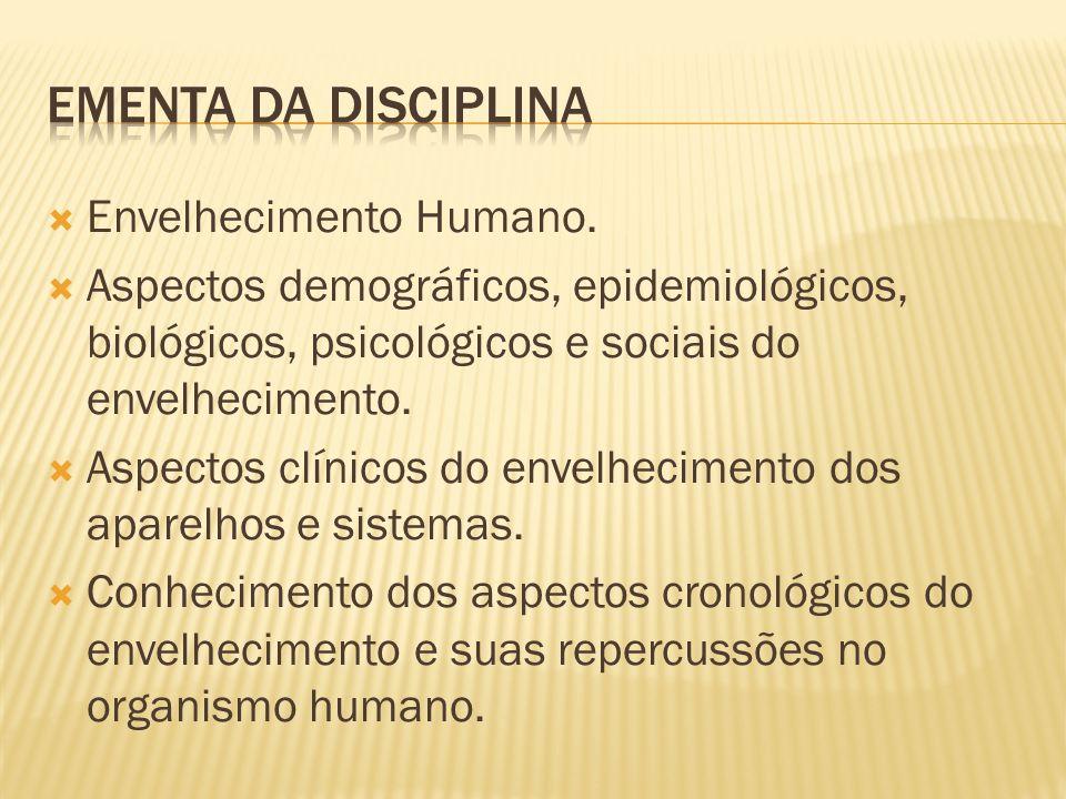 Ementa da disciplina Envelhecimento Humano.