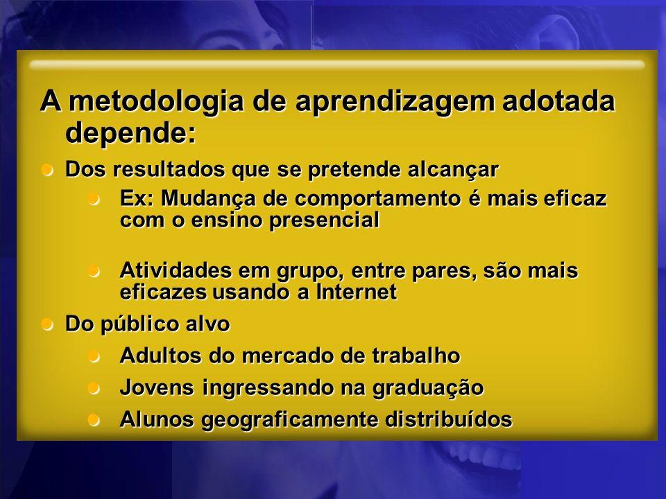 A metodologia de aprendizagem adotada depende: