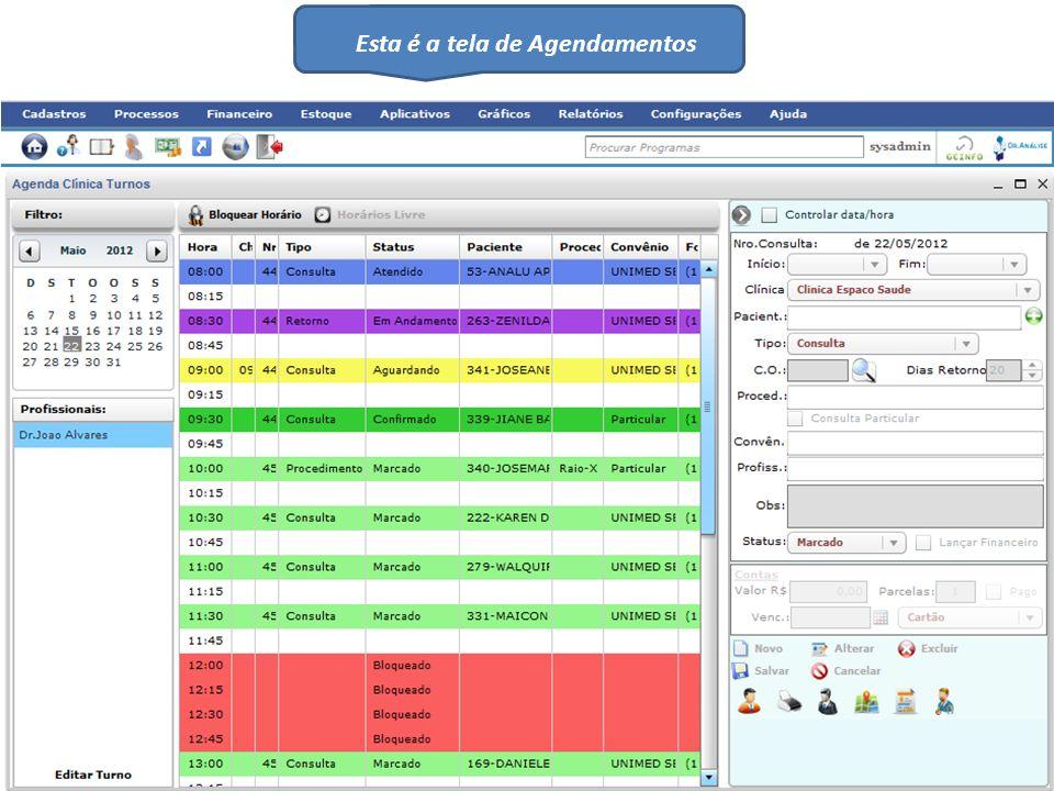 Esta é a tela de Agendamentos