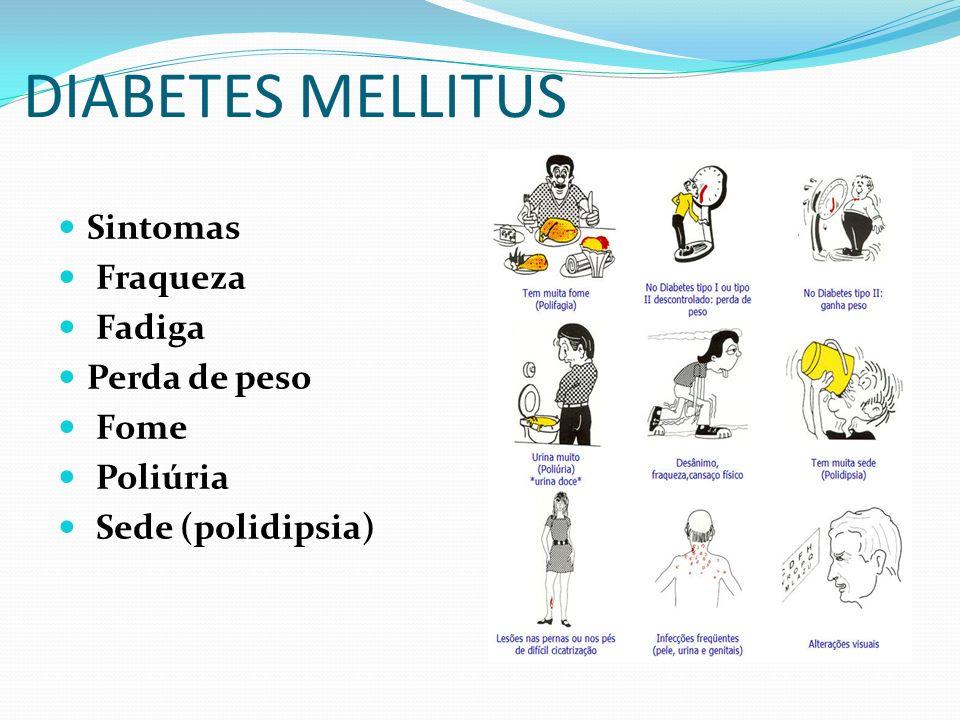 DIABETES MELLITUS Sintomas Fraqueza Fadiga Perda de peso Fome Poliúria