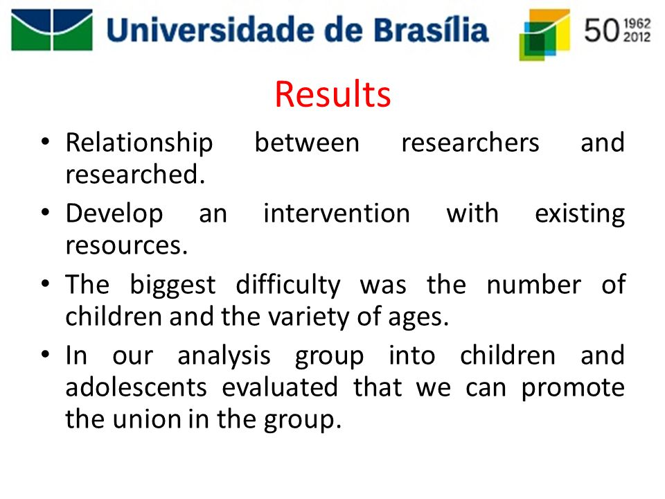 Results Relationship between researchers and researched.