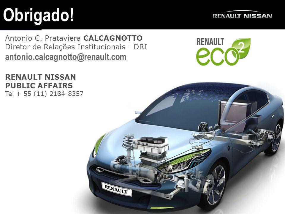 Obrigado! Antonio C. Prataviera CALCAGNOTTO Diretor de Relações Institucionais - DRI antonio.calcagnotto@renault.com.