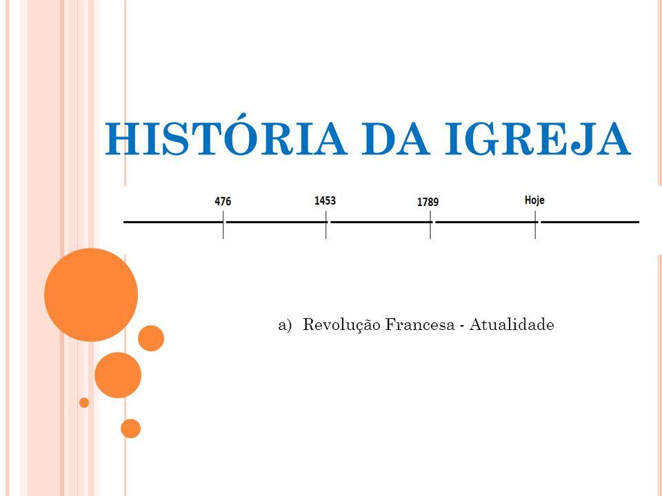 HISTÓRIA DA IGREJA Revolução Francesa - Atualidade