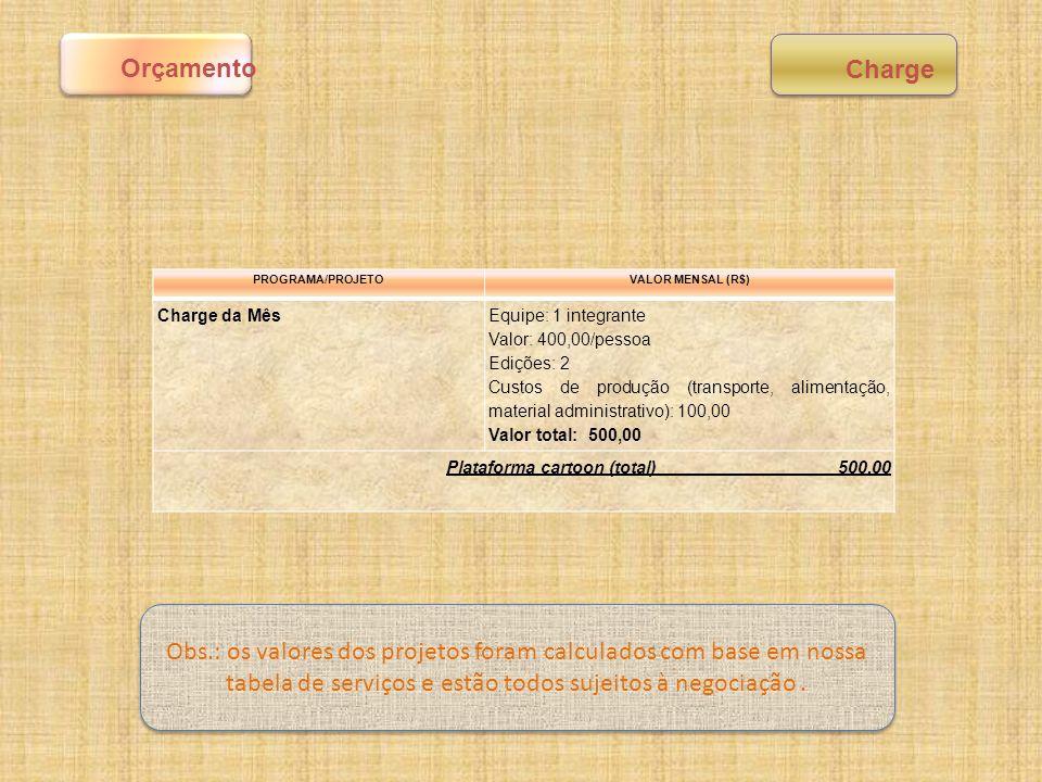 Orçamento Charge. PROGRAMA/PROJETO. VALOR MENSAL (R$) Charge da Mês. Equipe: 1 integrante. Valor: 400,00/pessoa.