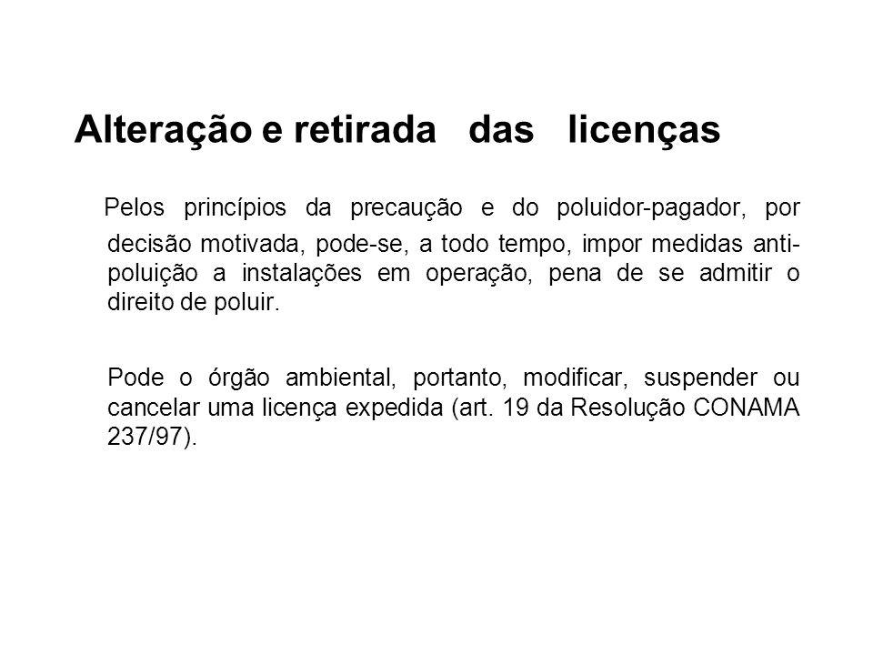 Alteração e retirada das licenças