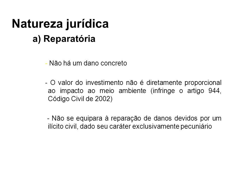 Natureza jurídica a) Reparatória - Não há um dano concreto