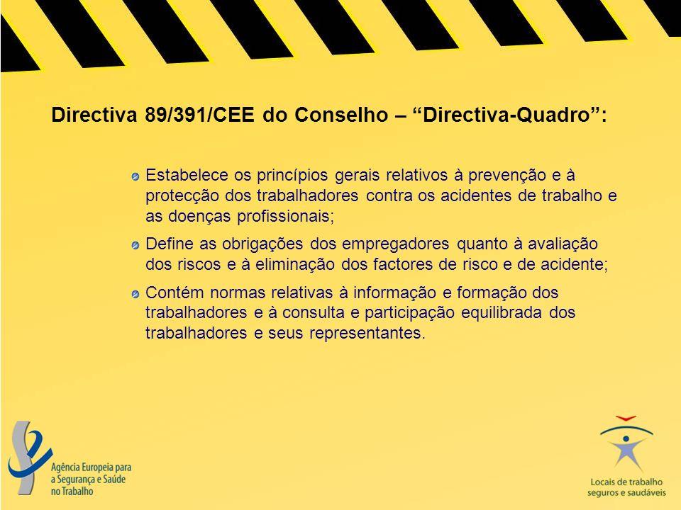Directiva 89/391/CEE do Conselho – Directiva-Quadro :