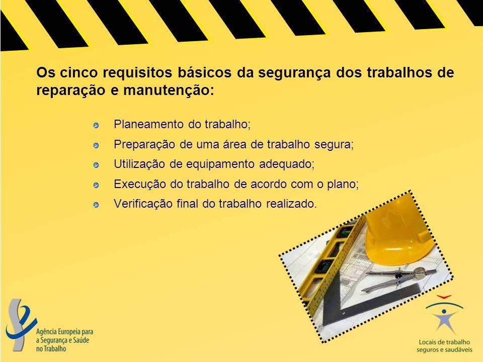 Os cinco requisitos básicos da segurança dos trabalhos de reparação e manutenção: