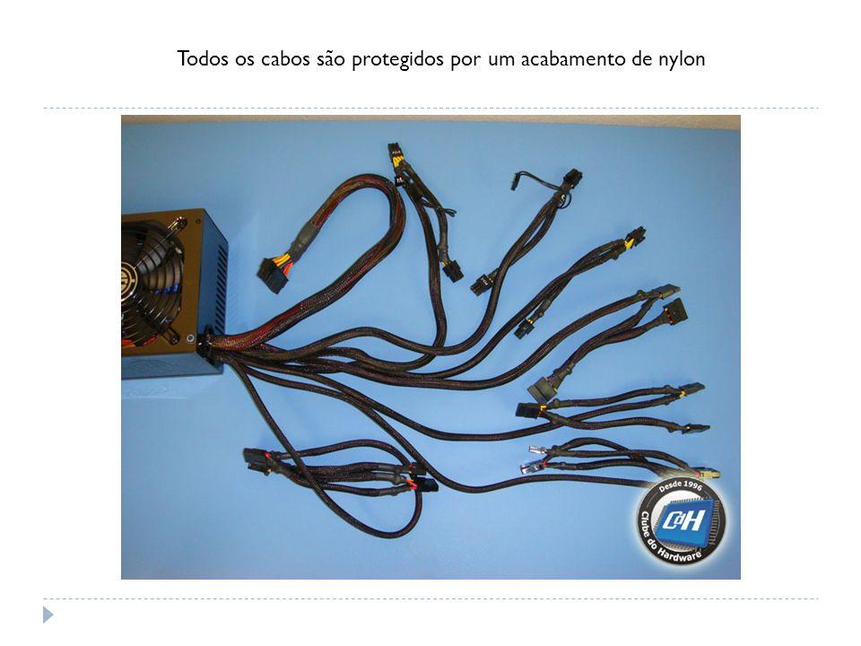 Todos os cabos são protegidos por um acabamento de nylon