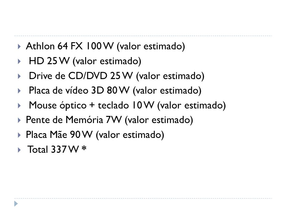 Athlon 64 FX 100 W (valor estimado)