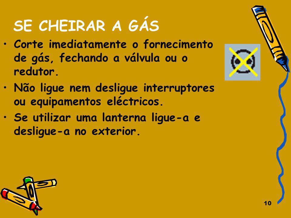 SE CHEIRAR A GÁS Corte imediatamente o fornecimento de gás, fechando a válvula ou o redutor.