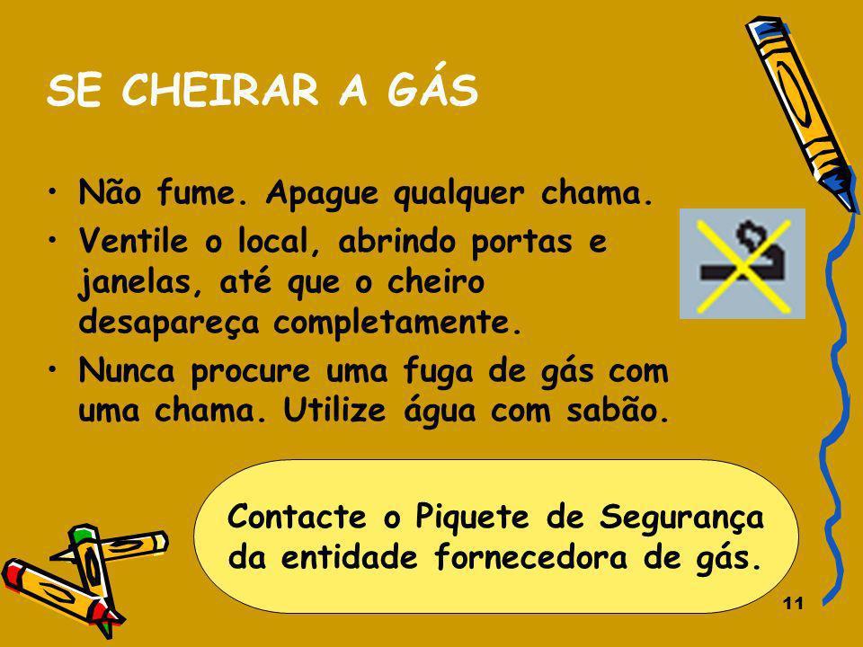 Contacte o Piquete de Segurança da entidade fornecedora de gás.