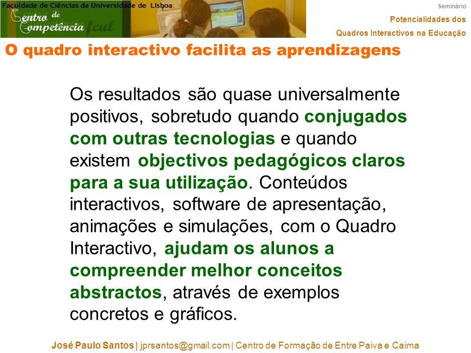 Seminário Potencialidades dos. Quadros Interactivos na Educação. O quadro interactivo facilita as aprendizagens.