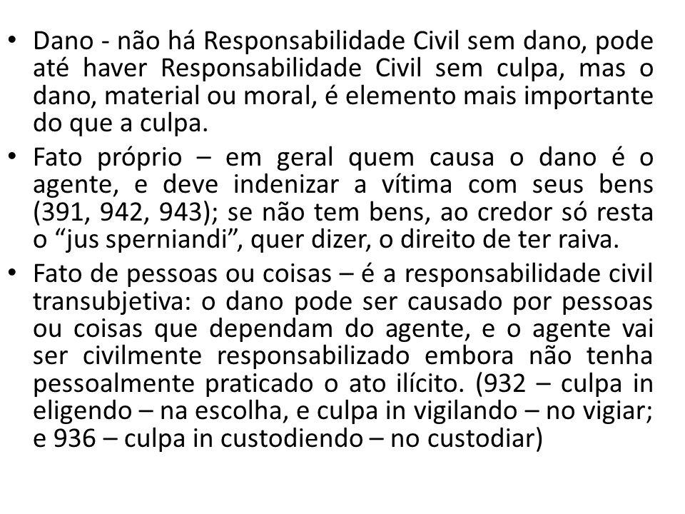 Dano - não há Responsabilidade Civil sem dano, pode até haver Responsabilidade Civil sem culpa, mas o dano, material ou moral, é elemento mais importante do que a culpa.