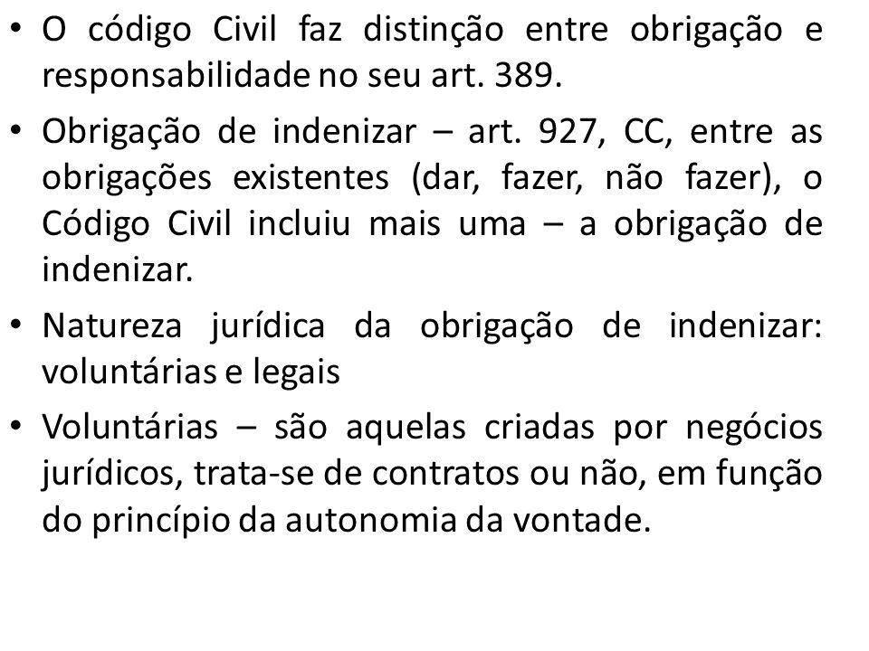 O código Civil faz distinção entre obrigação e responsabilidade no seu art. 389.