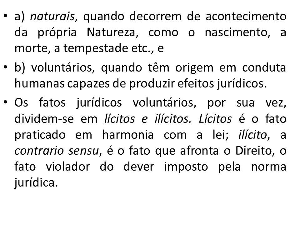 a) naturais, quando decorrem de acontecimento da própria Natureza, como o nascimento, a morte, a tempestade etc., e