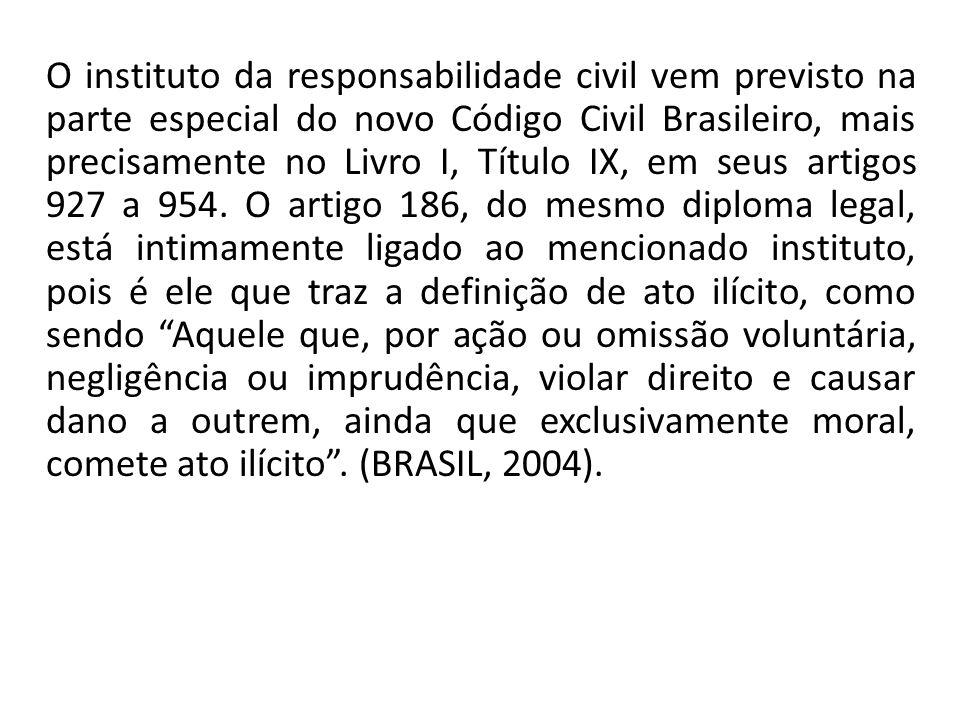 O instituto da responsabilidade civil vem previsto na parte especial do novo Código Civil Brasileiro, mais precisamente no Livro I, Título IX, em seus artigos 927 a 954.