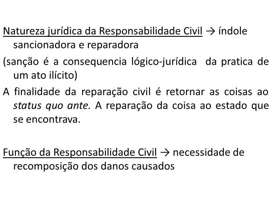 Natureza jurídica da Responsabilidade Civil → índole sancionadora e reparadora (sanção é a consequencia lógico-jurídica da pratica de um ato ilícito) A finalidade da reparação civil é retornar as coisas ao status quo ante.