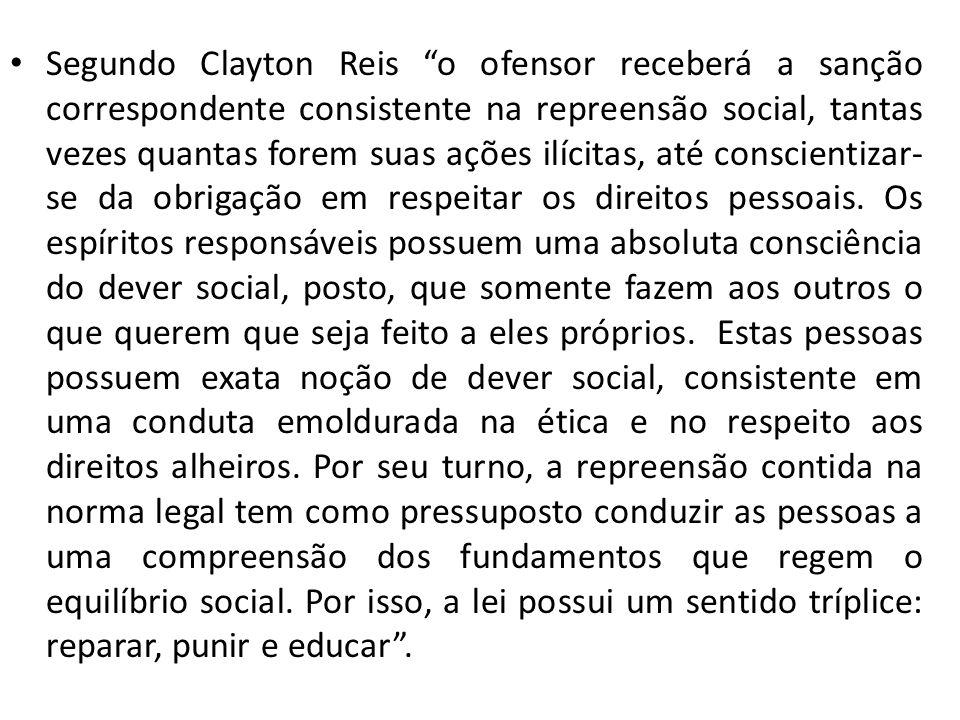 Segundo Clayton Reis o ofensor receberá a sanção correspondente consistente na repreensão social, tantas vezes quantas forem suas ações ilícitas, até conscientizar-se da obrigação em respeitar os direitos pessoais.