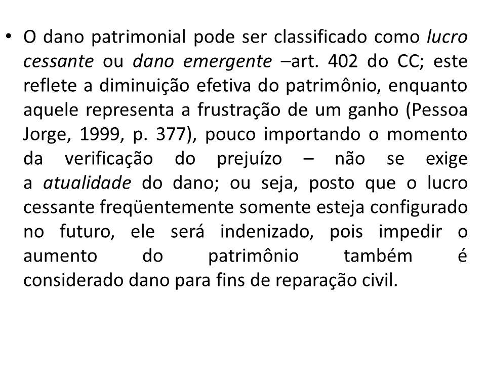 O dano patrimonial pode ser classificado como lucro cessante ou dano emergente –art.