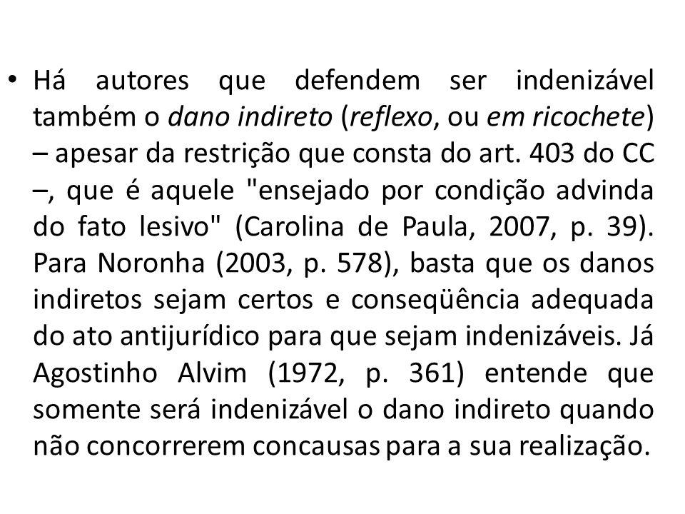 Há autores que defendem ser indenizável também o dano indireto (reflexo, ou em ricochete) – apesar da restrição que consta do art.