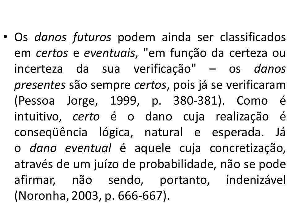 Os danos futuros podem ainda ser classificados em certos e eventuais, em função da certeza ou incerteza da sua verificação – os danos presentes são sempre certos, pois já se verificaram (Pessoa Jorge, 1999, p.