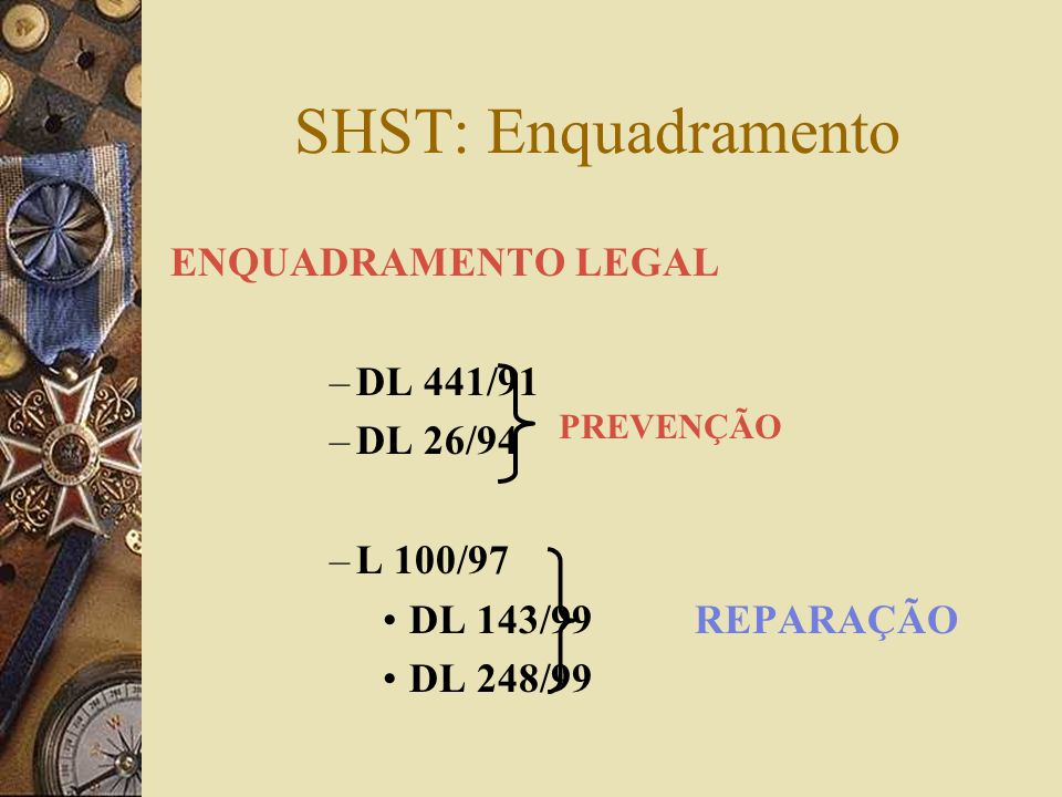 SHST: Enquadramento ENQUADRAMENTO LEGAL DL 441/91 DL 26/94 L 100/97