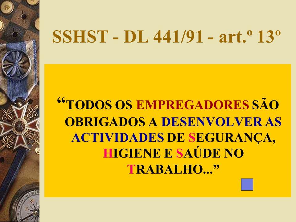 SSHST - DL 441/91 - art.º 13º TODOS OS EMPREGADORES SÃO OBRIGADOS A DESENVOLVER AS ACTIVIDADES DE SEGURANÇA, HIGIENE E SAÚDE NO TRABALHO...