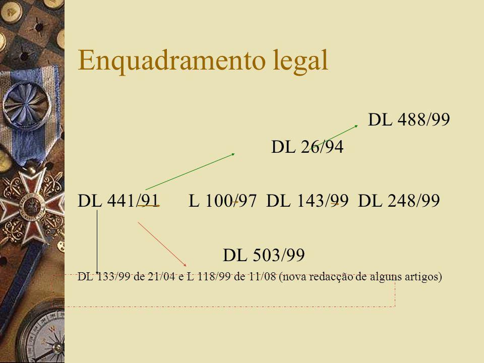 Enquadramento legal DL 488/99 DL 26/94