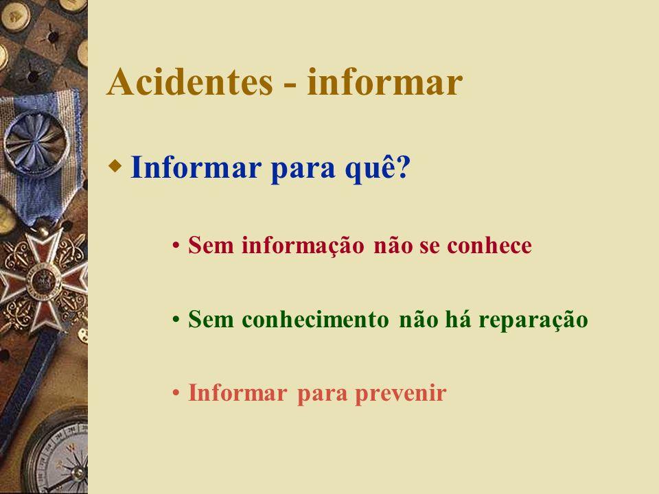Acidentes - informar Informar para quê Sem informação não se conhece