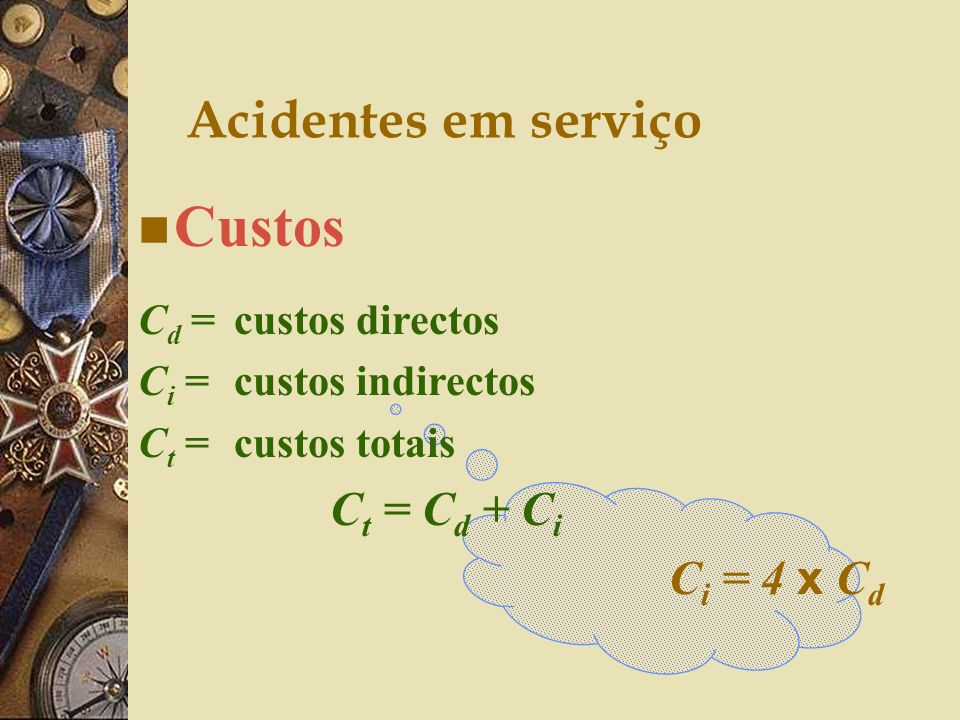 Custos Acidentes em serviço Ci = 4 x Cd Cd = custos directos