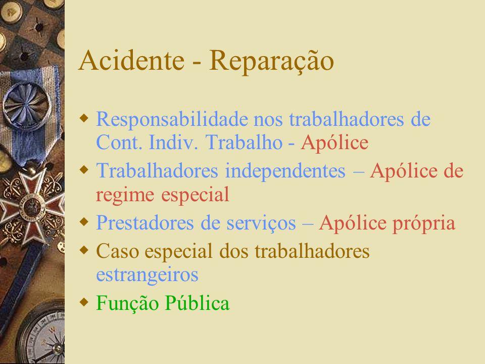 Acidente - Reparação Responsabilidade nos trabalhadores de Cont. Indiv. Trabalho - Apólice. Trabalhadores independentes – Apólice de regime especial.