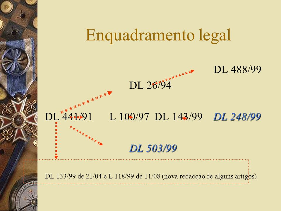 Enquadramento legal DL 488/99 DL 26/94