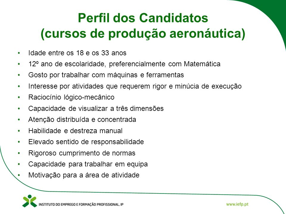 Perfil dos Candidatos (cursos de produção aeronáutica)