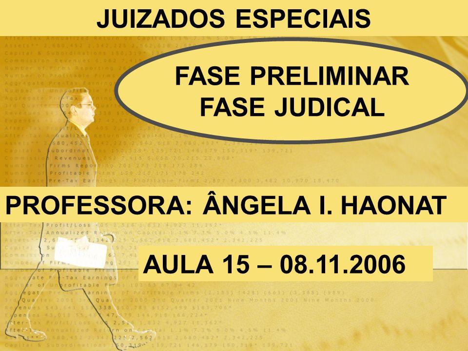 JUIZADOS ESPECIAIS FASE PRELIMINAR FASE JUDICAL PROFESSORA: ÂNGELA I. HAONAT AULA 15 – 08.11.2006