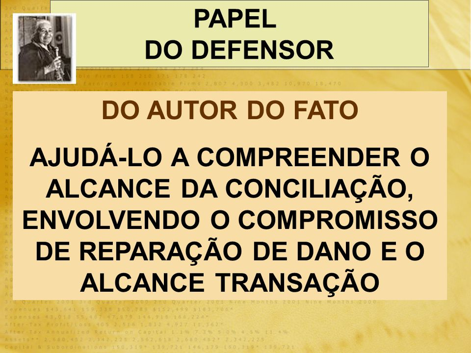 PAPEL DO DEFENSOR. DO AUTOR DO FATO.