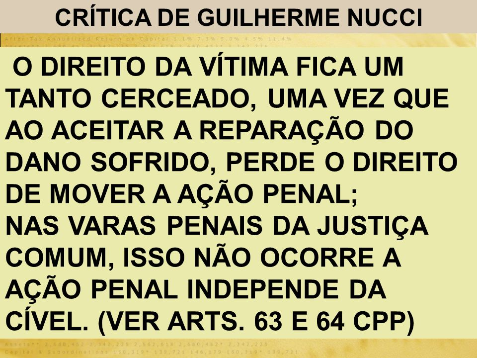 CRÍTICA DE GUILHERME NUCCI