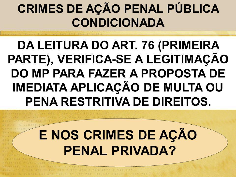 CRIMES DE AÇÃO PENAL PÚBLICA CONDICIONADA