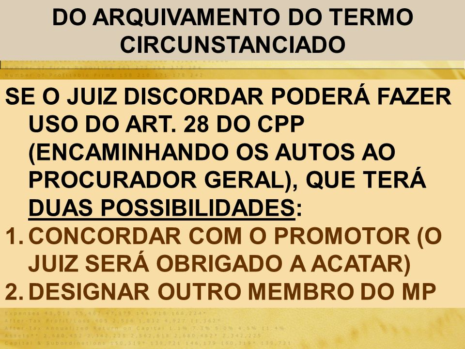 DO ARQUIVAMENTO DO TERMO CIRCUNSTANCIADO
