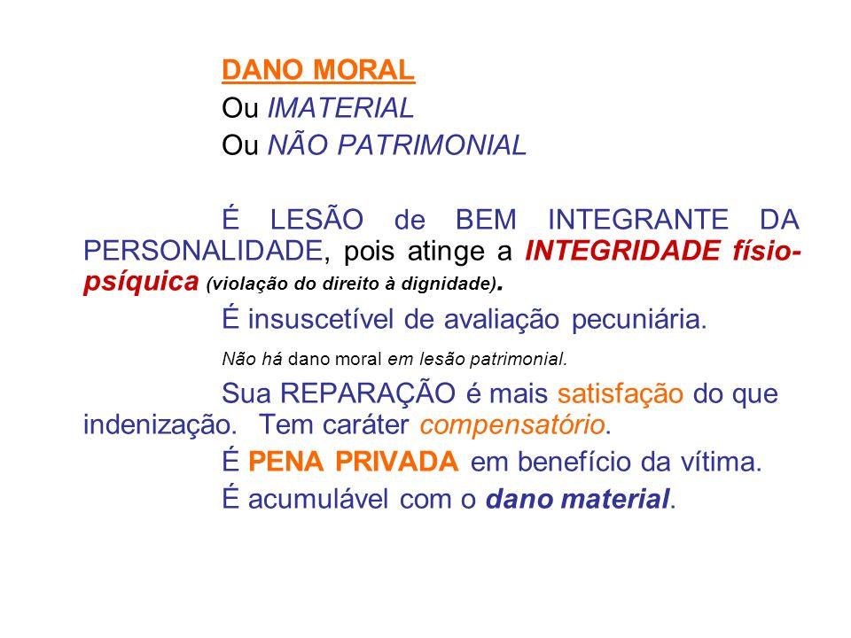 DANO MORAL Ou IMATERIAL. Ou NÃO PATRIMONIAL.