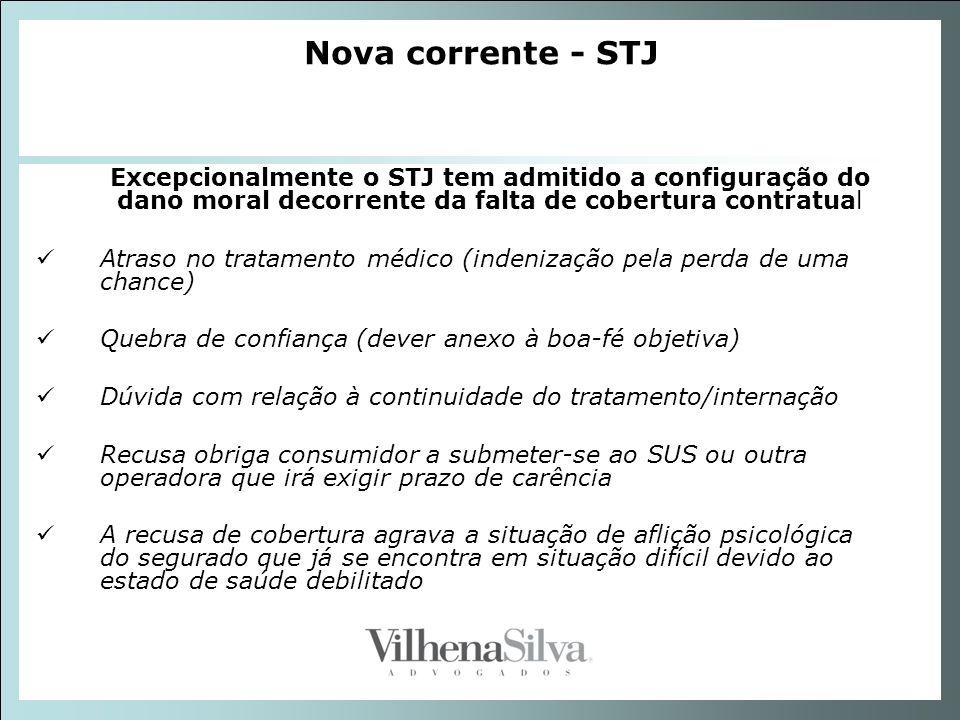Nova corrente - STJ Excepcionalmente o STJ tem admitido a configuração do dano moral decorrente da falta de cobertura contratual.