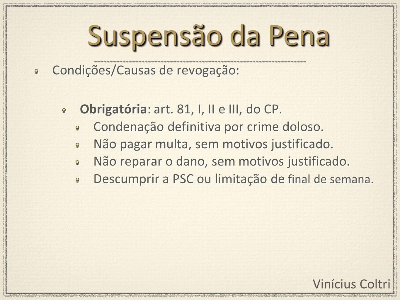 Suspensão da Pena Condições/Causas de revogação: