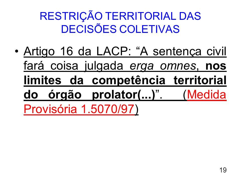 RESTRIÇÃO TERRITORIAL DAS DECISÕES COLETIVAS