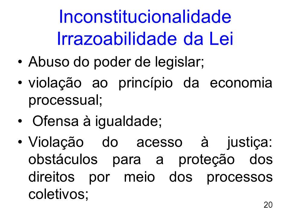 Inconstitucionalidade Irrazoabilidade da Lei