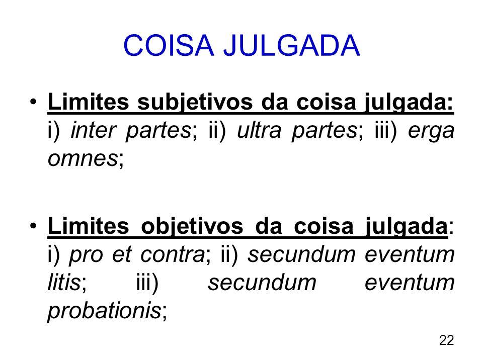 COISA JULGADA Limites subjetivos da coisa julgada: i) inter partes; ii) ultra partes; iii) erga omnes;