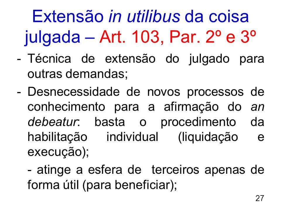 Extensão in utilibus da coisa julgada – Art. 103, Par. 2º e 3º