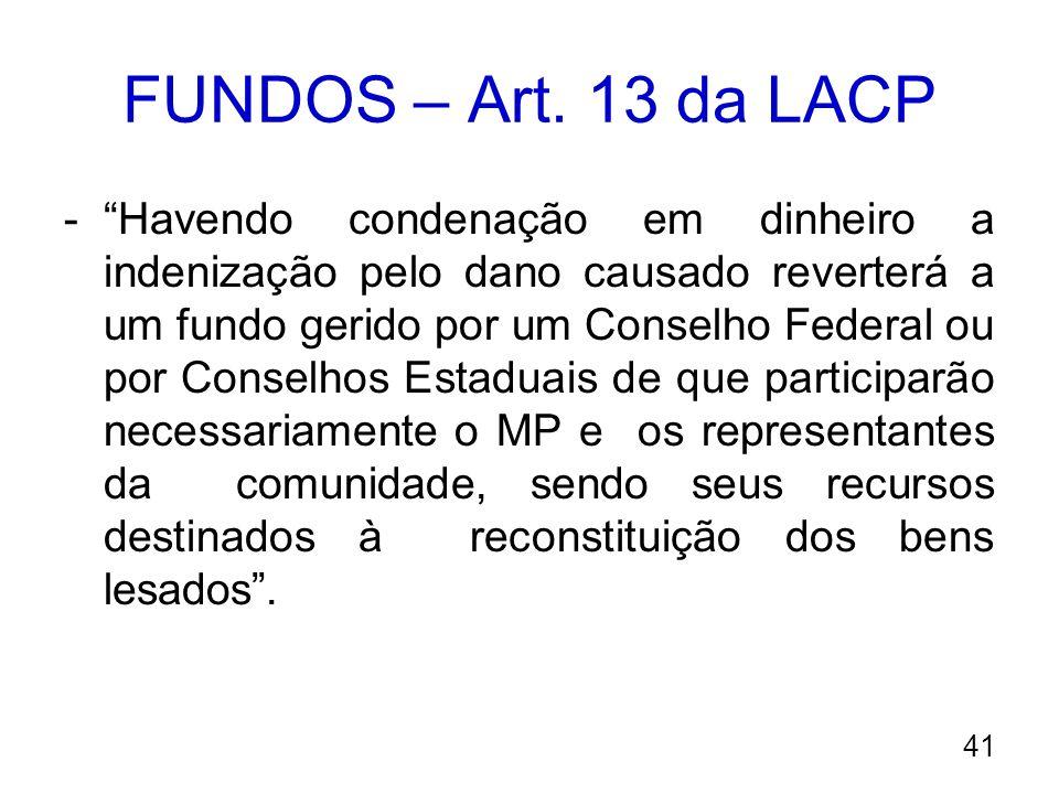 FUNDOS – Art. 13 da LACP