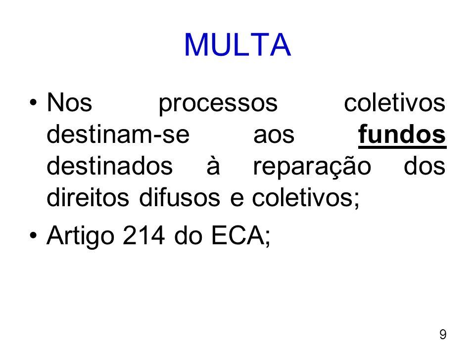 MULTA Nos processos coletivos destinam-se aos fundos destinados à reparação dos direitos difusos e coletivos;