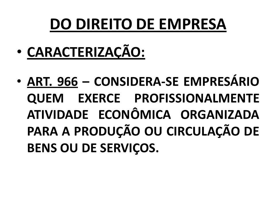 DO DIREITO DE EMPRESA CARACTERIZAÇÃO:
