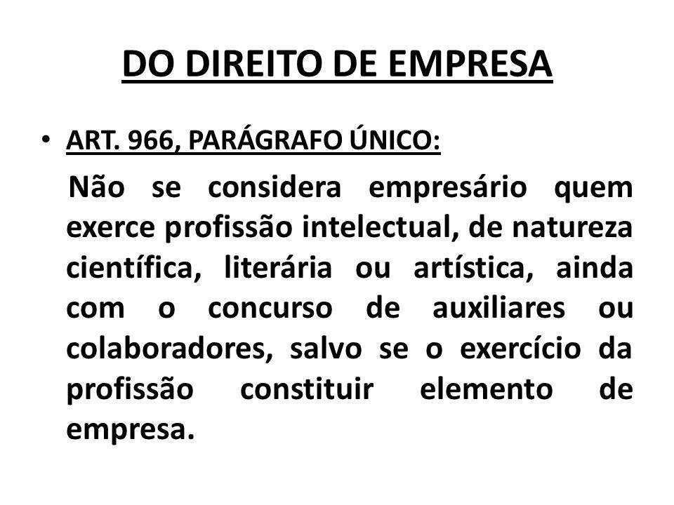 DO DIREITO DE EMPRESA ART. 966, PARÁGRAFO ÚNICO: